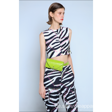 LADIES ZEBRA CROPPED VEST